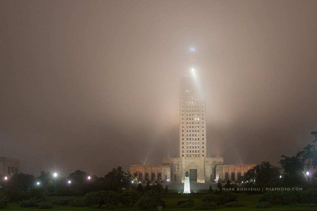 Fog at the Louisiana State Capitol