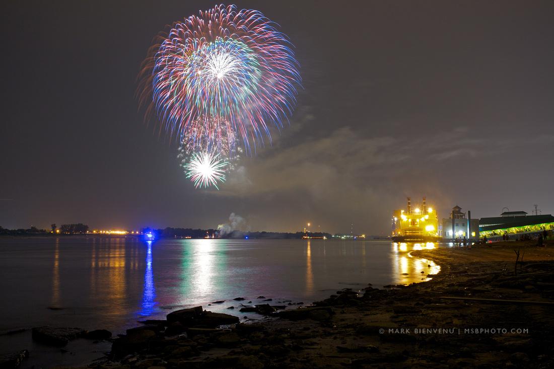 Fireworks on the Mississippi River • Baton Rouge