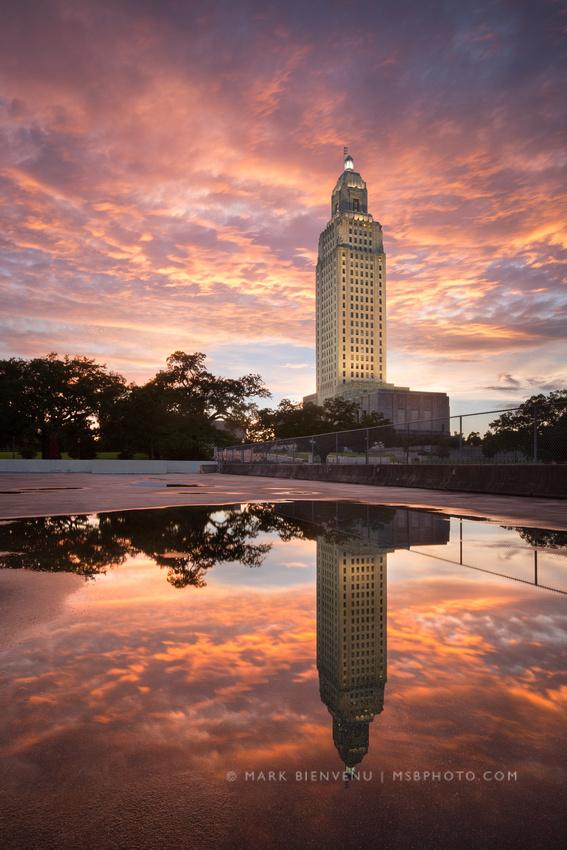 Louisiana State Capitol Sunset   Louisiana Architectural Photographer Mark Bienvenu