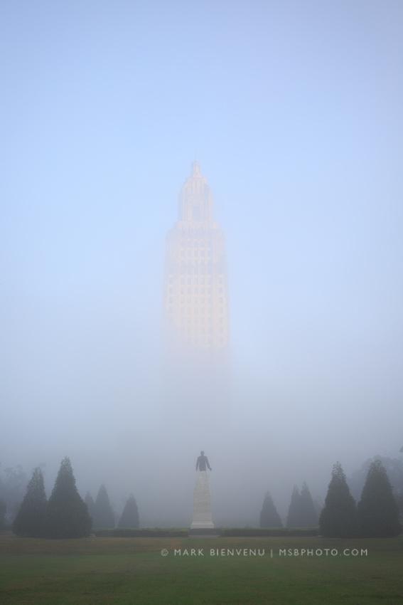 Louisiana State Capitol in fog.