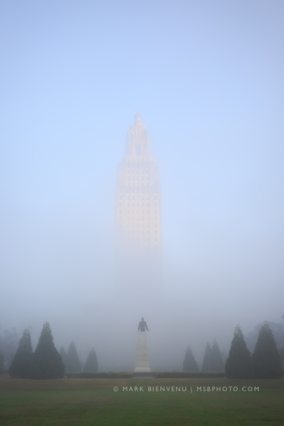 Louisiana State Capitol in fog.